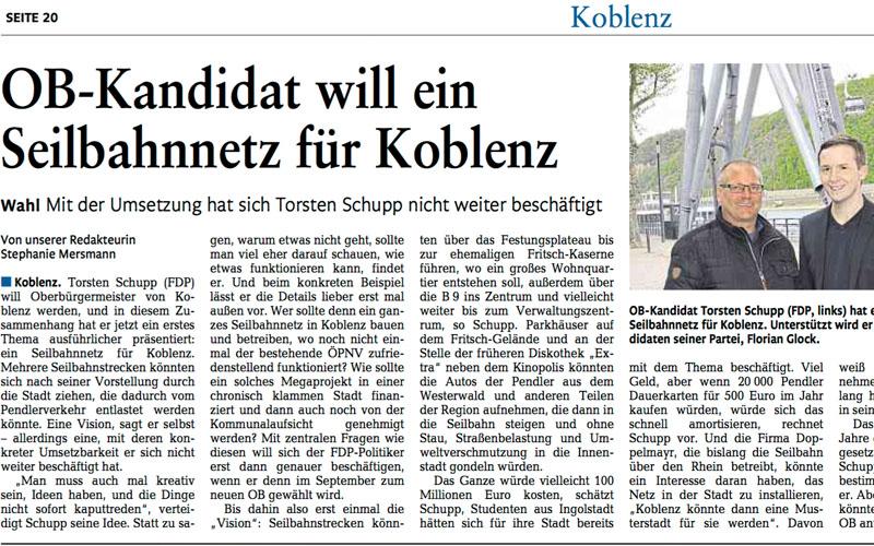 Pressebericht Rhein Zeitung – OB-Kandidat will ein Seilbahnnetz für Koblenz